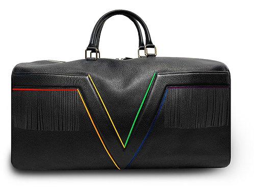 Large Leather Black VLx Travel Bag with Fringes - Rainbow Outlines Outlines