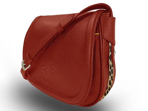 Leather Handbag - Vue Lac - Rouge - Leopard Outlines