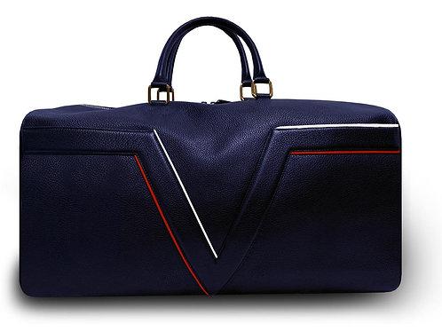 Sac de voyage VUE LAC Collection Initial -Bleu Marine - Liserés Rouge et Blanc