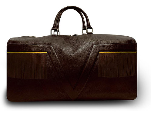 Dark Brown Leather Travel Bag VLx with Fringes - Yellow Outlines