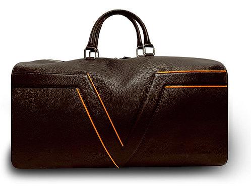 Dark Brown Leather Travel Bag VLx - Orange Outlines
