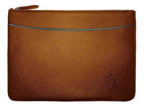 Laptop sleeve with front pocket Cognac, Lavender outlines 38cm