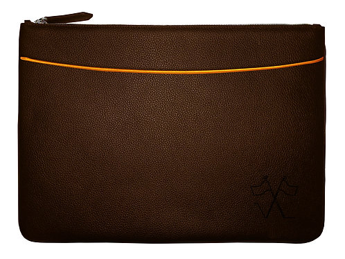 Laptop sleeve with front pocket Brown, Orange outlines 38cm