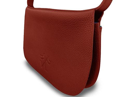 Besace extra-plate - Vue Lac - Cuir Rouge Liserés Bleu  - T