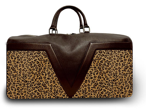 Large Leather Brown & Leopard VLx Travel Bag