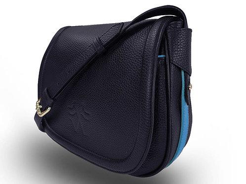 Leather Handbag - Vue Lac - Dark Blue - Light Blue Outlines