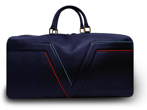 Large Leather Dark Blue VLx Travel Bag - Red & Blue  Outlines