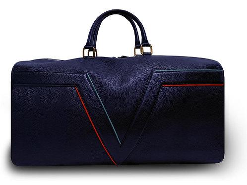 Sac de voyage VUE LAC. Collection Initial -Bleu Marine - Liserés Rouges et Bleus