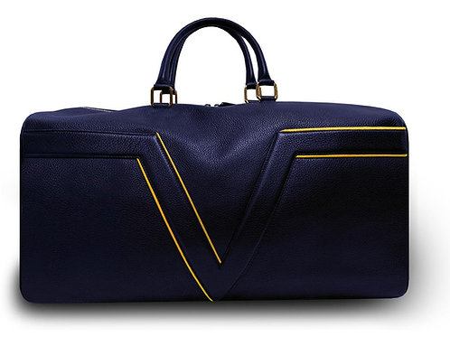 Large Leather Dark Blue VLx Travel Bag - Yellow Outlines
