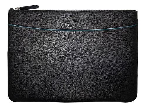 Laptop sleeve with front pocket Black, Lavander outlines 38cm