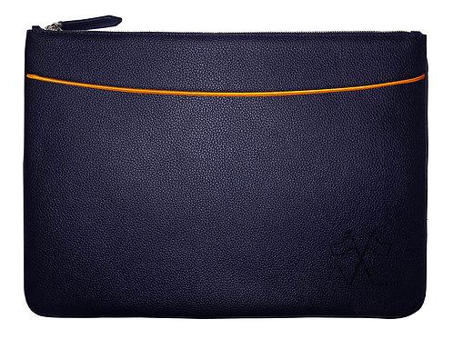 Laptop sleeve with front pocket Navy Blue, Orange outlines 38cm