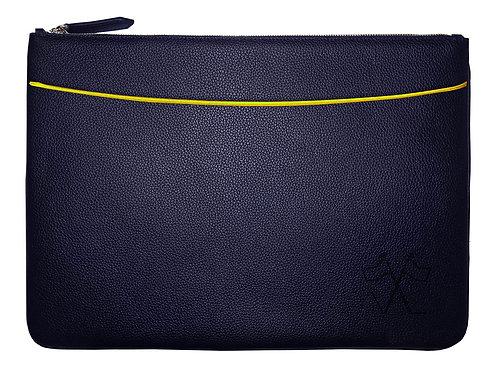 Housse pour ordinateur portable avec poche avant Bleu Marine, liseré Jaune 38cm