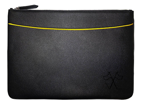 Laptop sleeve with front pocket Black, Yellow outlines 38cm