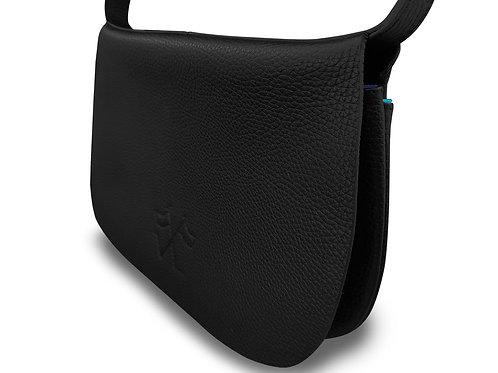 Extra flat satchel bag - Vue Lac - black leather - light blue outlines