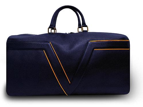 Grand Modèle - Sac de voyage VUE LAC  Initial -  Marine - Liserés Orange