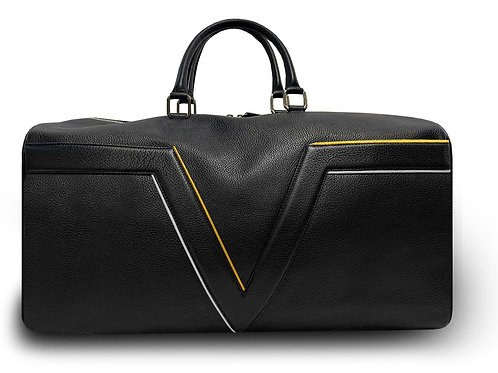 Black Leather Travel Bag VLx - Yellow & Grey Outlines