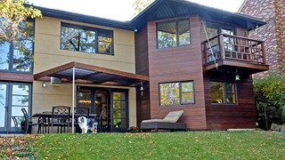 Stucco and cedar cladding