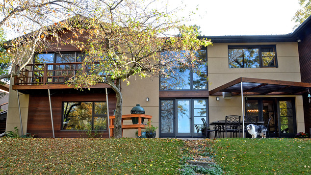 Stucco exterior back of house