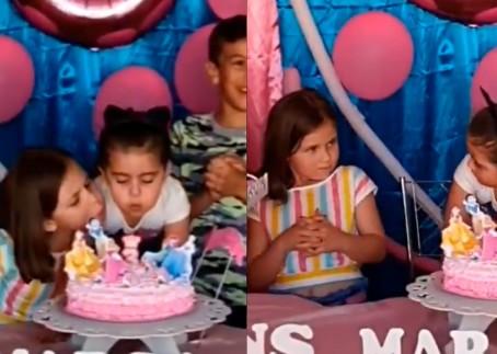 El video viral de la niña que sopla las velas de cumpleaños de su hermana dejó varias de reacciones