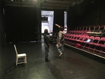 Nao and Edgar working on lighting