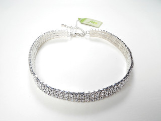 AZ0005 Crystal 3 Row Stretch Choker
