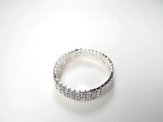 FH2 BR0030 Crystal 3 Row Stretch Bracelet