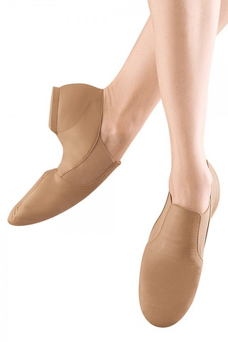 Bloch SO499 Elasta Bootie Leather Slip On Jazz Shoe - Tan