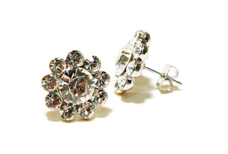 FH2 AY0052 Crystal Flower Pierced Earring