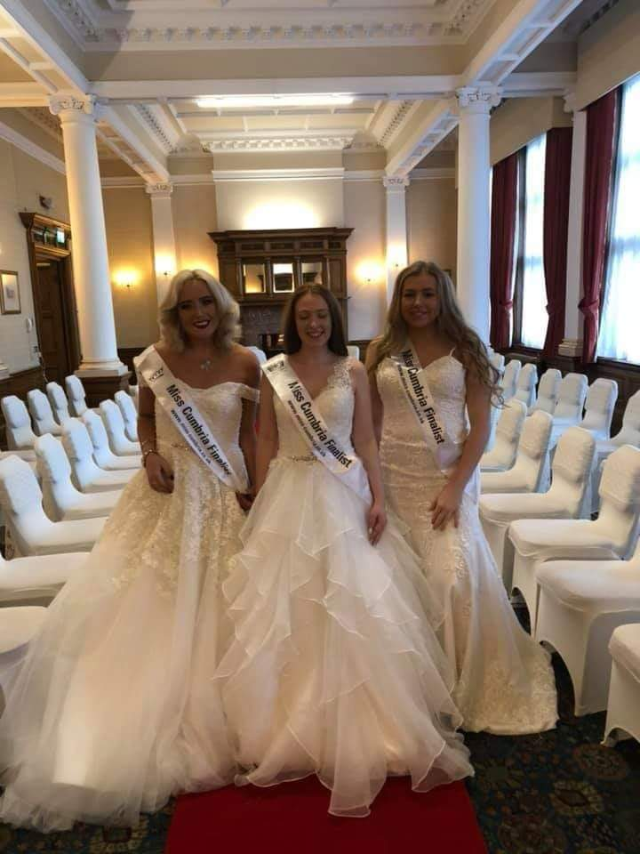 3 Miss Cumbrians modelling for Bridal Wi