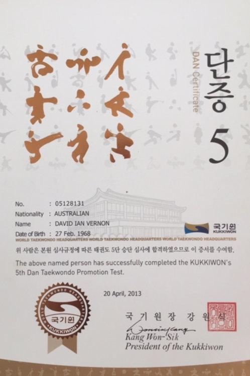 Kukkiwon Certificate