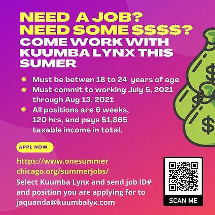 NEED SOME $$$$ COME WORK WITH KUUMBA LYN