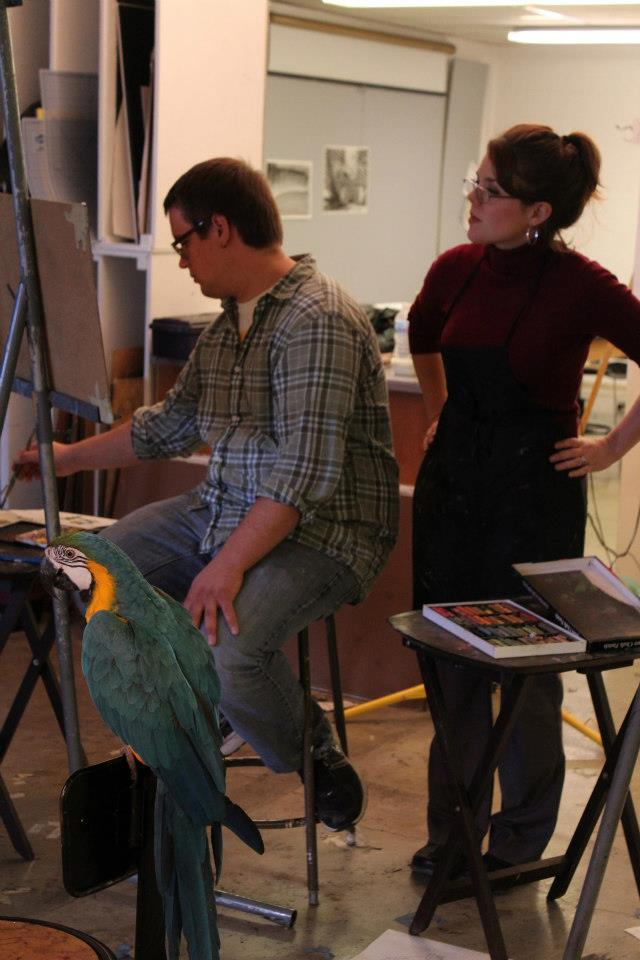 teaching with live macaw
