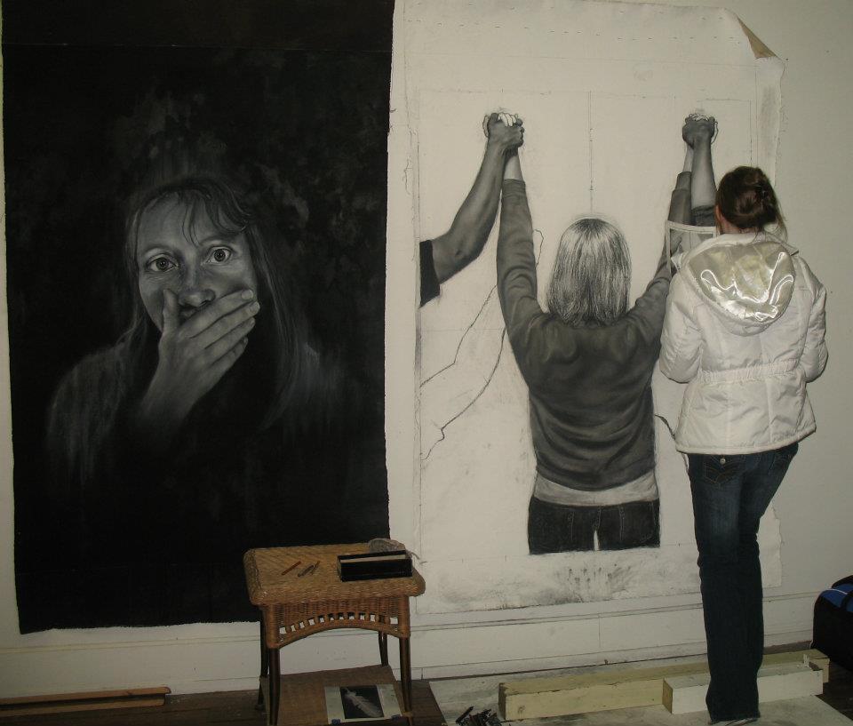 Carolyn working in my studio
