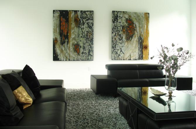Contemporary Design Gold, Black, White, Gray