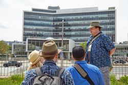 Hamilton Downtown Walking Tour Guide and group
