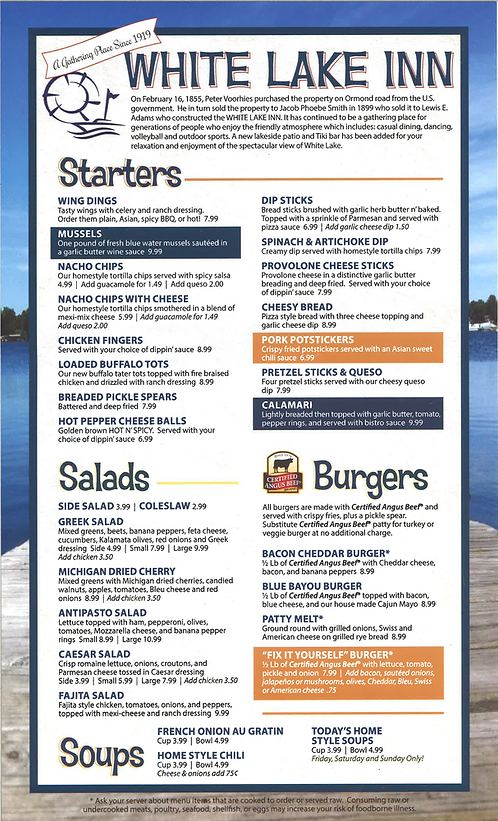 White Lake Inn Menu Page 1