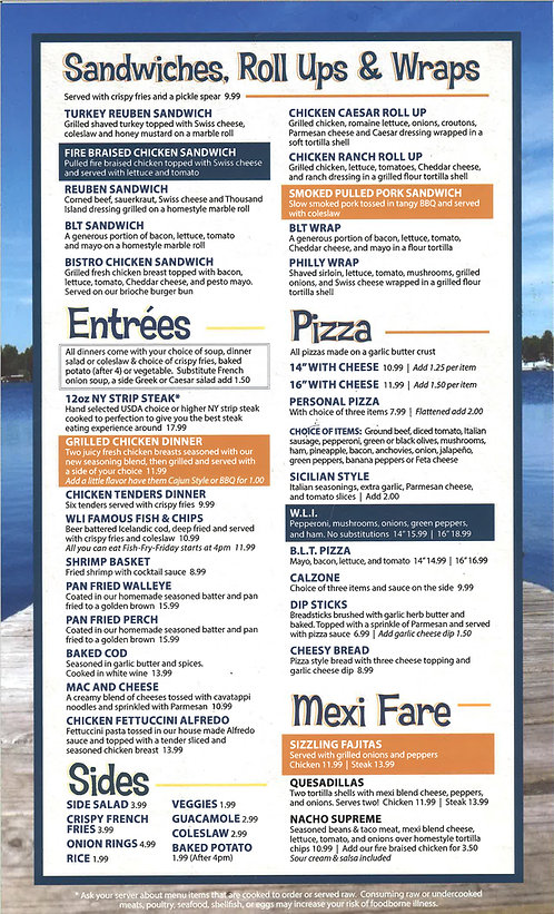 White Lake Inn Menu page 2