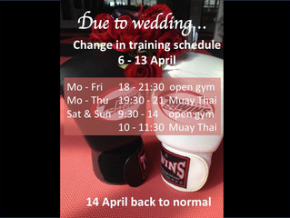 Due to Wedding - change in schedule 6-13 April