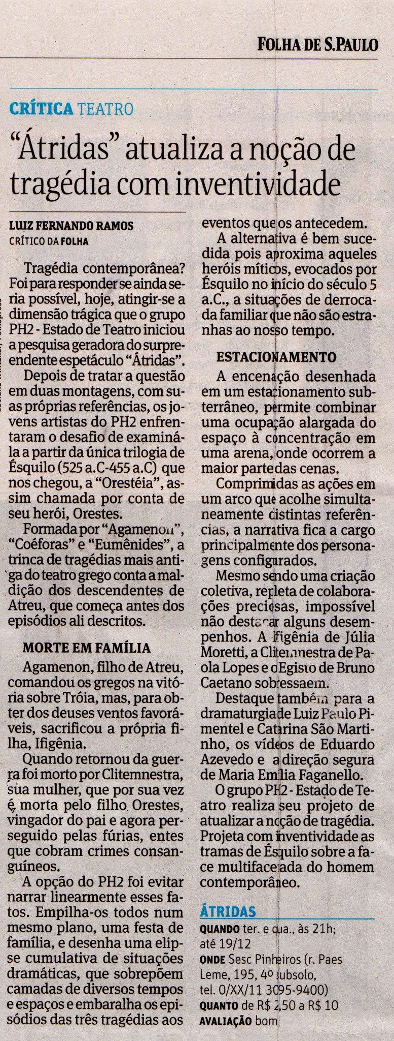 Crítica Luiz Fernando Ramos, 2012