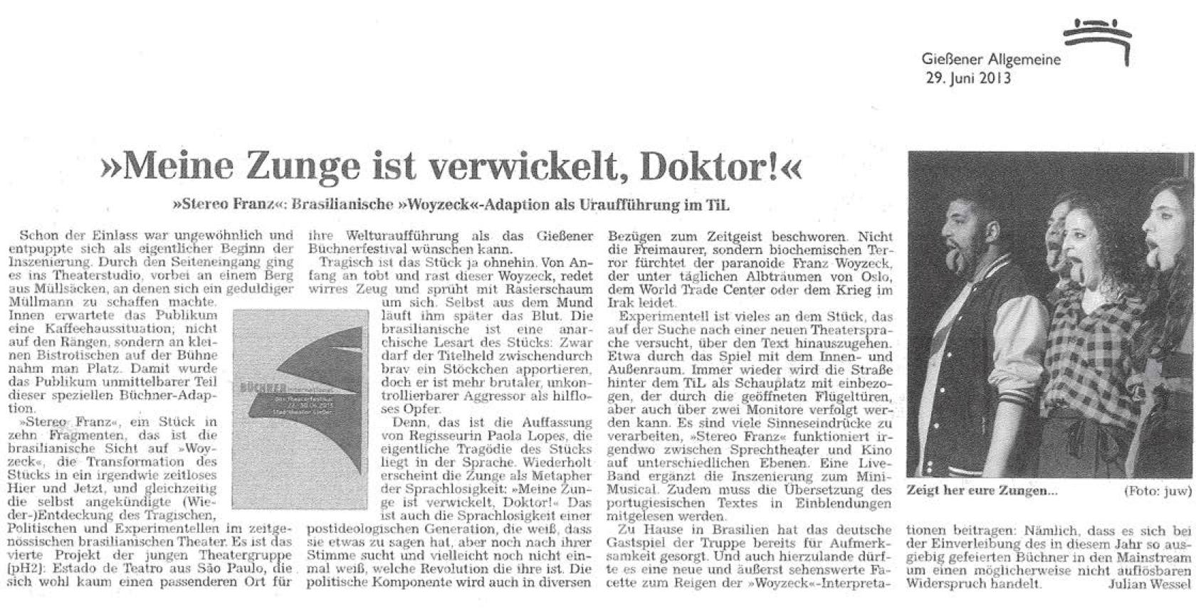 Crítica de jornal alemão, 2013