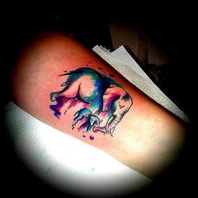 watercolour tattoo elephant tatto artist yate bristol