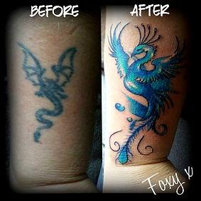 re-work cover up tattoo phoenix tattoo artist Yate Bristol