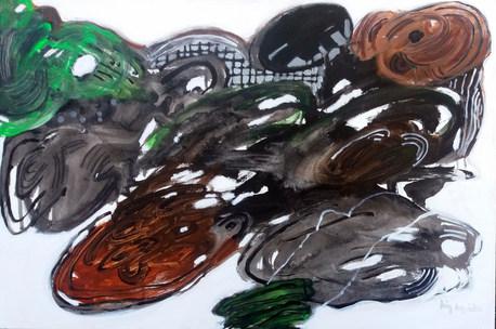 A pintura, o preto, o branco, a sombra queimada e verde luz
