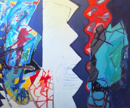 A pintura e a onda vermelha - 60 x 130 cm