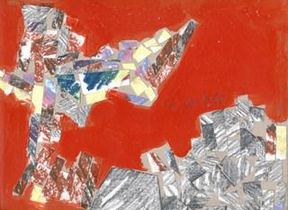 Colagem sobre vermelho - 23X31 cm