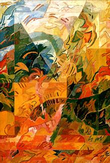 Pintura com triângulo - 109X37 cm