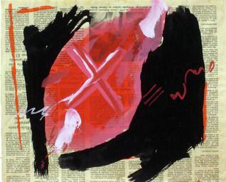 Pintura sobre Jornal I - 29X35cm
