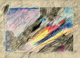 Desenho com azul e amarelo - 23X31 cm
