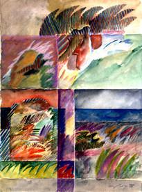 Aquarela com lápis de cor - 38X28 cm