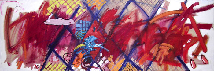 Pintura entre Losangos - 60x180 cm
